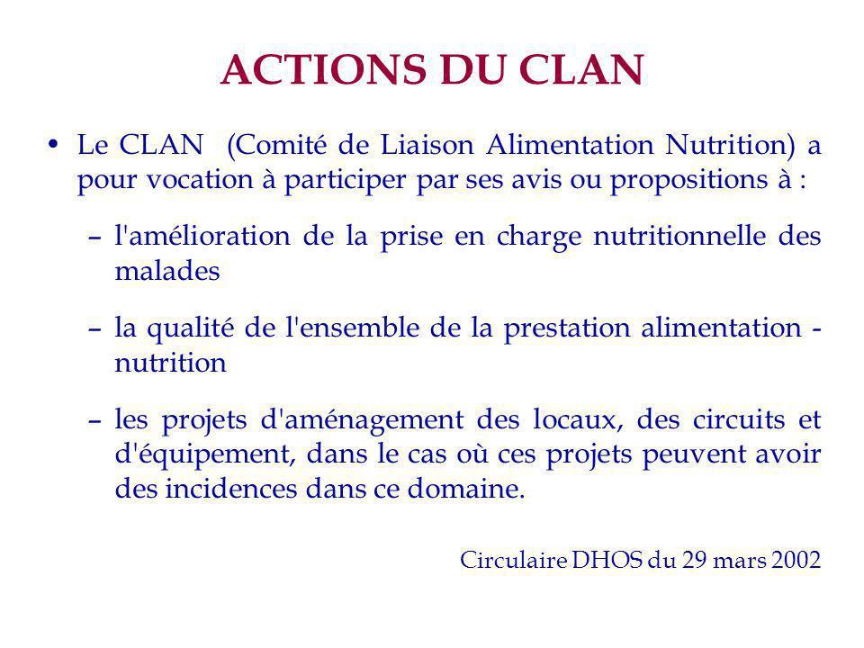 ACTIONS DU CLAN Le CLAN (Comité de Liaison Alimentation Nutrition) a pour vocation à participer par ses avis ou propositions à : –l'amélioration de la