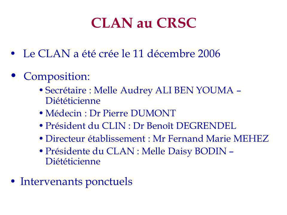 CLAN au CRSC Le CLAN a été crée le 11 décembre 2006 Composition: Secrétaire : Melle Audrey ALI BEN YOUMA – Diététicienne Médecin : Dr Pierre DUMONT Pr