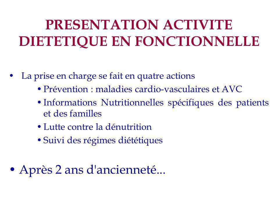 PRESENTATION ACTIVITE DIETETIQUE EN FONCTIONNELLE La prise en charge se fait en quatre actions Prévention : maladies cardio-vasculaires et AVC Informa