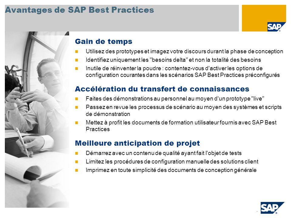 Avantages de SAP Best Practices Gain de temps Utilisez des prototypes et imagez votre discours durant la phase de conception Identifiez uniquement les