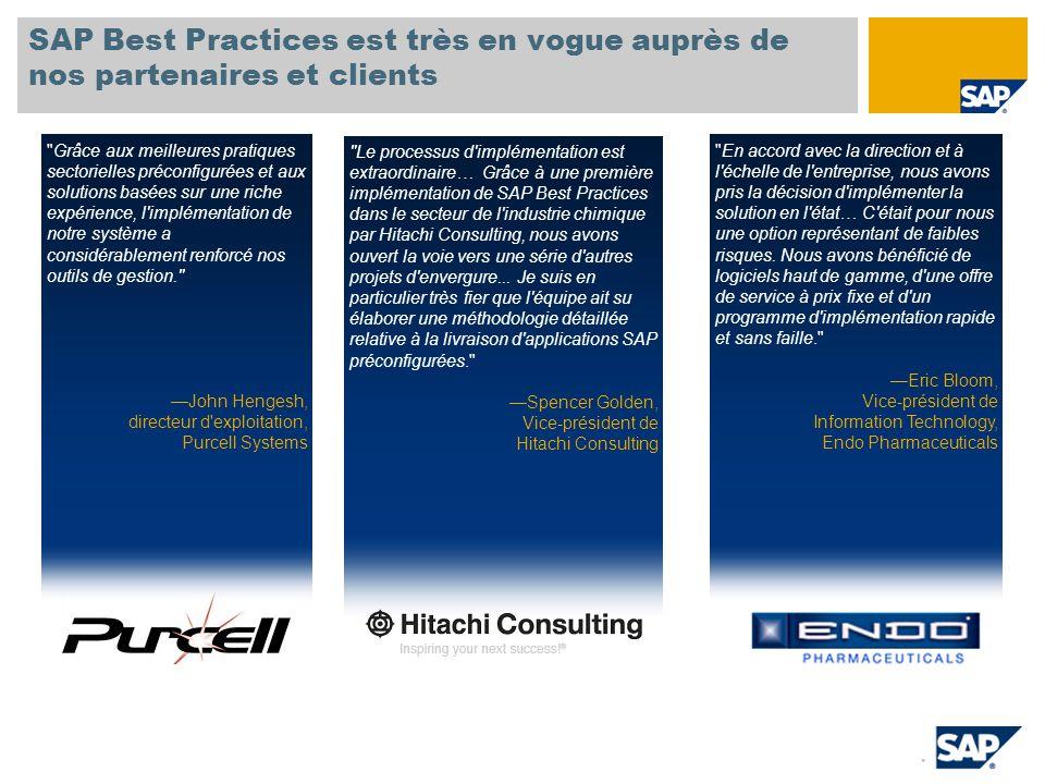 SAP Best Practices est très en vogue auprès de nos partenaires et clients