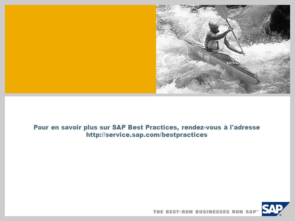 Pour en savoir plus sur SAP Best Practices, rendez-vous à l'adresse http://service.sap.com/bestpractices
