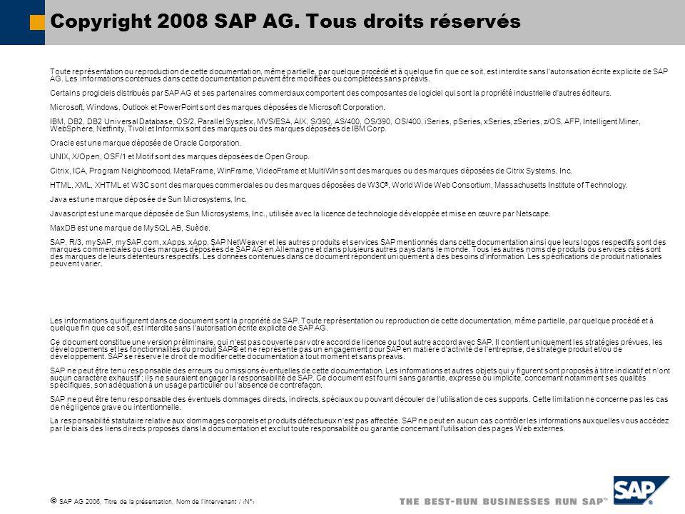  SAP AG 2006, Titre de la présentation, Nom de l'intervenant / ‹N°› Copyright 2008 SAP AG. Tous droits réservés Toute représentation ou reproduction
