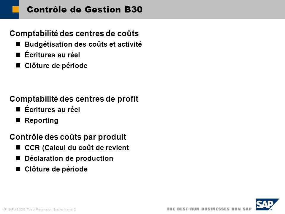  SAP AG 2003, Title of Presentation, Speaker Name / 2 Contrôle de Gestion B30 Comptabilité des centres de coûts Budgétisation des coûts et activité É