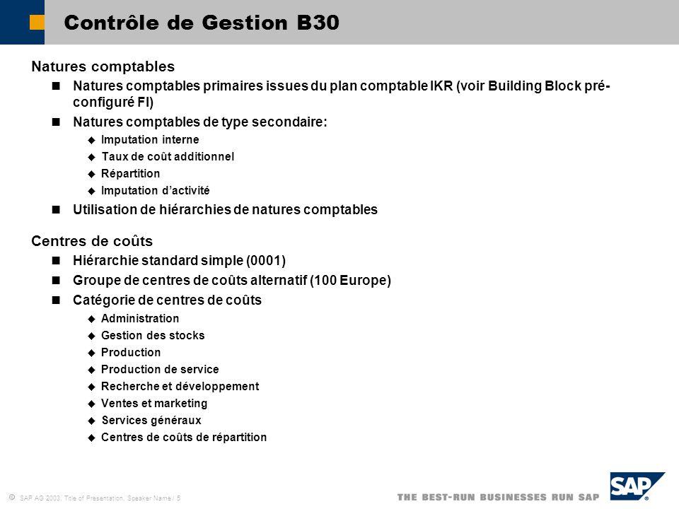  SAP AG 2003, Title of Presentation, Speaker Name / 5 Contrôle de Gestion B30 Natures comptables Natures comptables primaires issues du plan comptabl