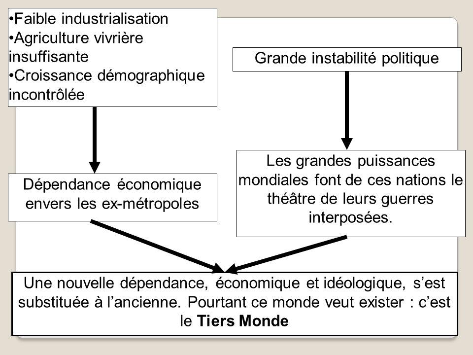 Grande instabilité politique Faible industrialisation Agriculture vivrière insuffisante Croissance démographique incontrôlée Les grandes puissances mo