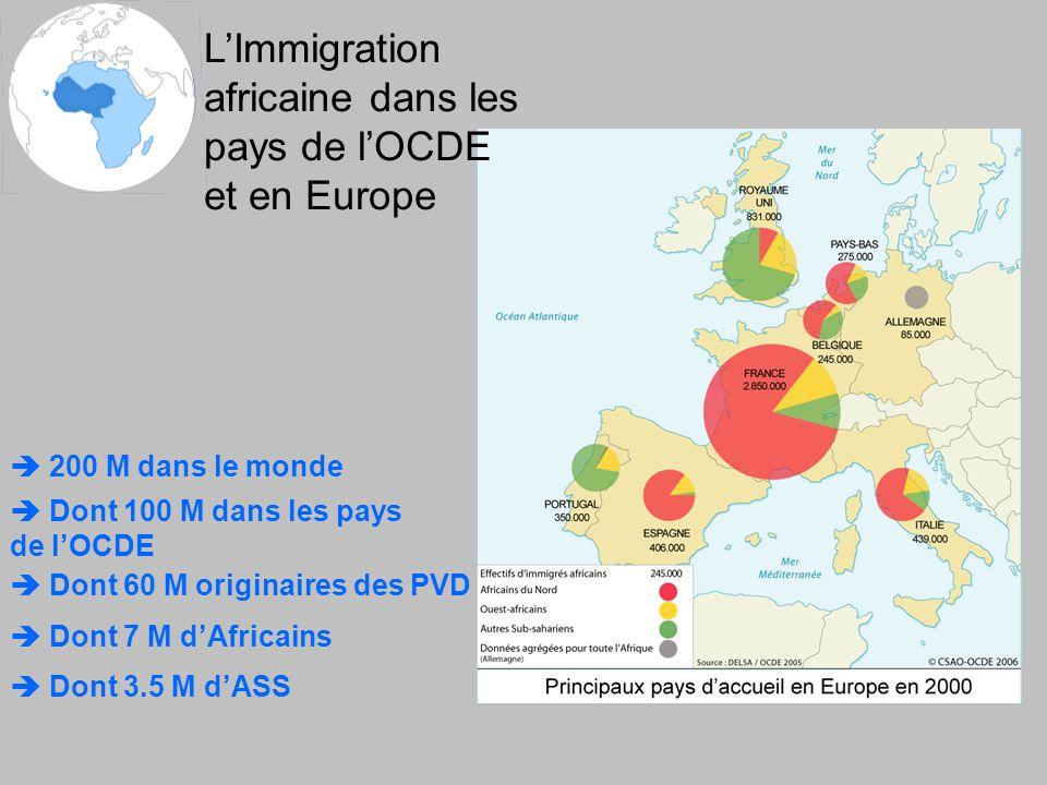 L'Immigration africaine dans les pays de l'OCDE et en Europe  200 M dans le monde  Dont 100 M dans les pays de l'OCDE  Dont 60 M originaires des PVD  Dont 7 M d'Africains  Dont 3.5 M d'ASS