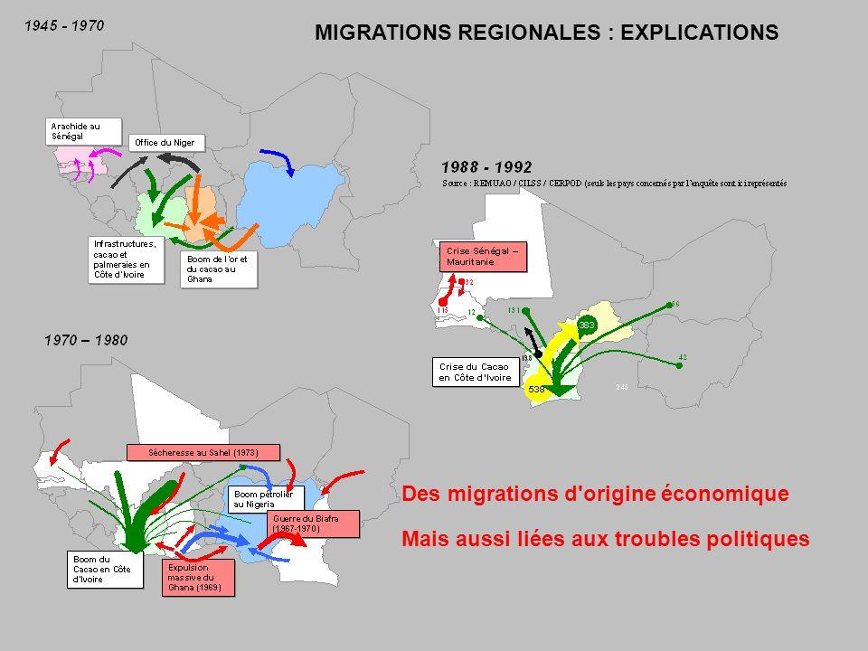 Des migrations d origine économique Mais aussi liées aux troubles politiques MIGRATIONS REGIONALES : EXPLICATIONS