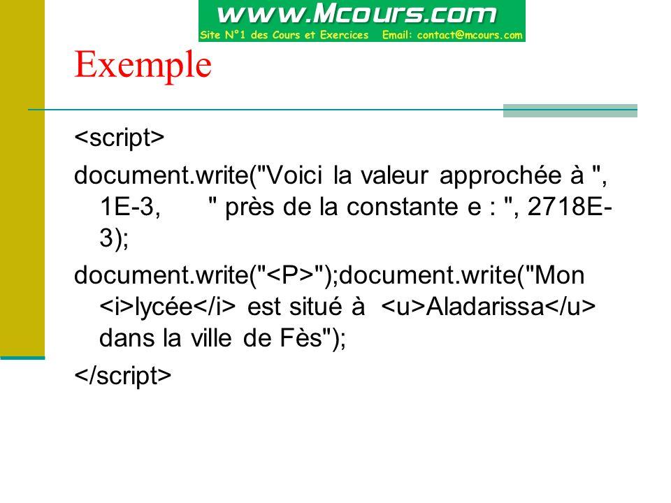 Exemple document.write( Voici la valeur approchée à , 1E-3, près de la constante e : , 2718E- 3); document.write( );document.write( Mon lycée est situé à Aladarissa dans la ville de Fès );