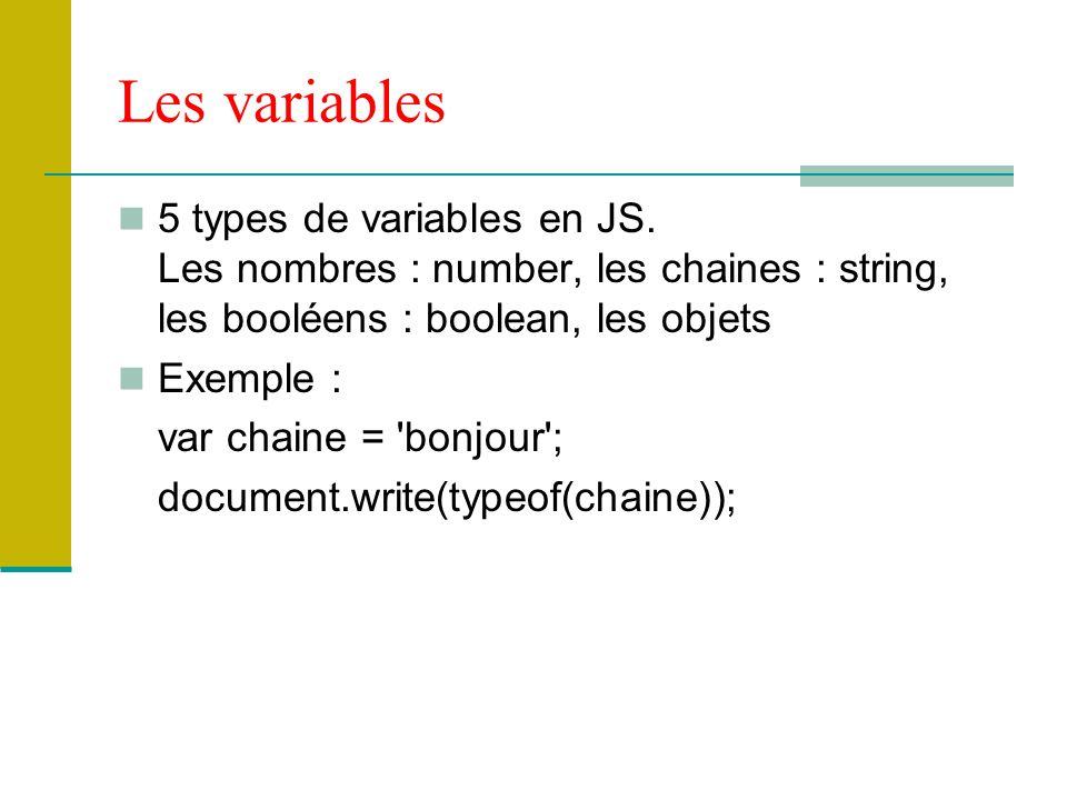 Les variables 5 types de variables en JS. Les nombres : number, les chaines : string, les booléens : boolean, les objets Exemple : var chaine = 'bonjo