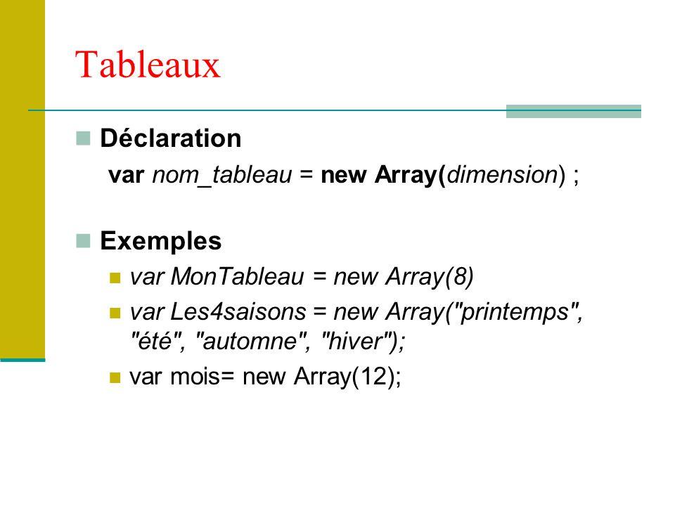 Tableaux Déclaration var nom_tableau = new Array(dimension) ; Exemples var MonTableau = new Array(8) var Les4saisons = new Array( printemps , été , automne , hiver ); var mois= new Array(12);