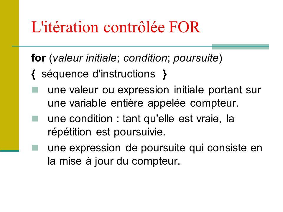 L'itération contrôlée FOR for (valeur initiale; condition; poursuite) { séquence d'instructions } une valeur ou expression initiale portant sur une va