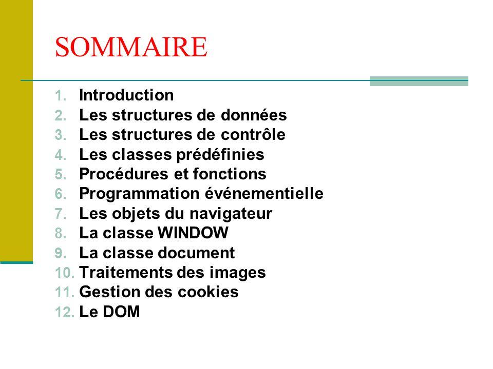 SOMMAIRE 1. Introduction 2. Les structures de données 3. Les structures de contrôle 4. Les classes prédéfinies 5. Procédures et fonctions 6. Programma