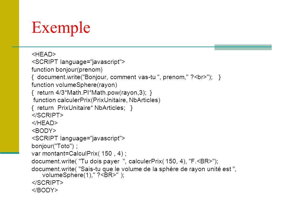 Exemple function bonjour(prenom) { document.write(