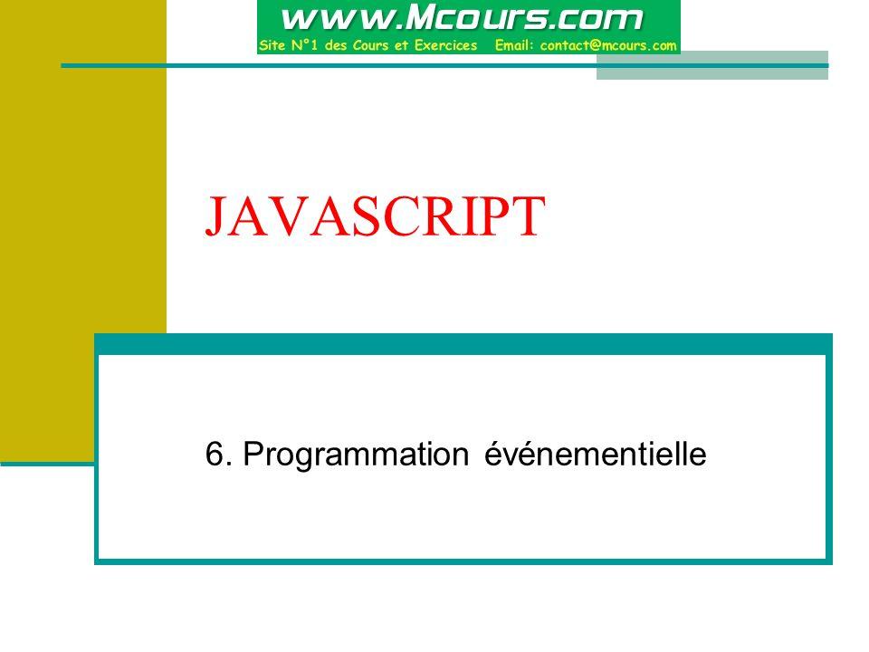 JAVASCRIPT 6. Programmation événementielle