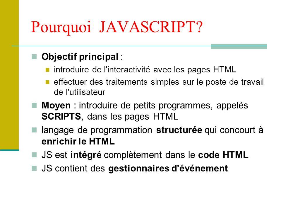 Ecriture et exécution du code JS On peut placer du code JS à 3 endroits : Entre les balises et Associé à une balise HTML qui gère un événement Associé au pseudo-protocole javascript: dans une URL