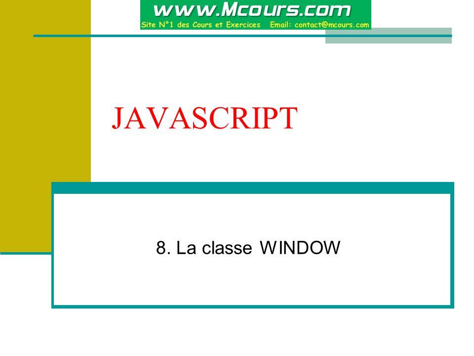 JAVASCRIPT 8. La classe WINDOW