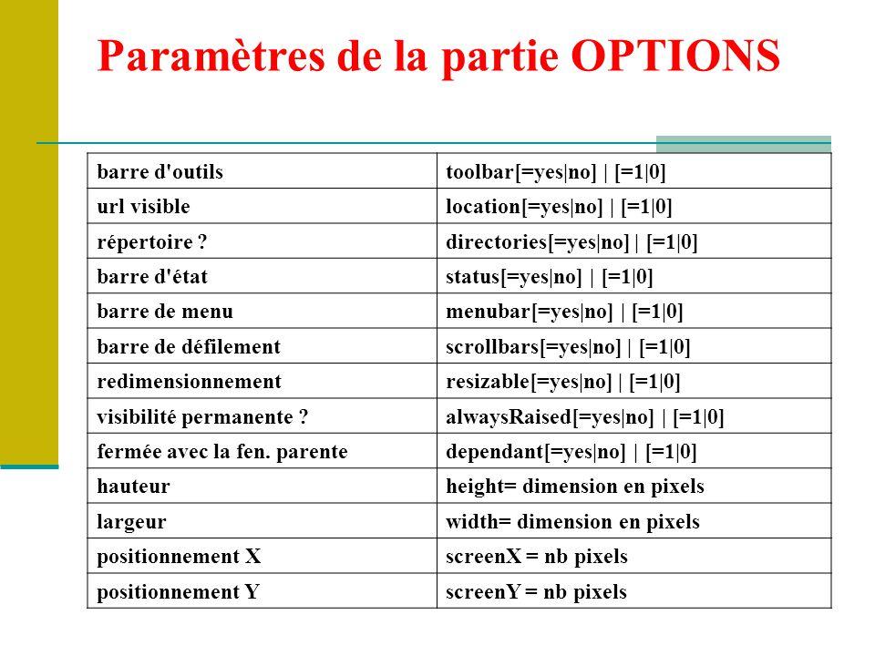 Paramètres de la partie OPTIONS barre d outilstoolbar[=yes|no] | [=1|0] url visiblelocation[=yes|no] | [=1|0] répertoire ?directories[=yes|no] | [=1|0] barre d étatstatus[=yes|no] | [=1|0] barre de menumenubar[=yes|no] | [=1|0] barre de défilementscrollbars[=yes|no] | [=1|0] redimensionnementresizable[=yes|no] | [=1|0] visibilité permanente ?alwaysRaised[=yes|no] | [=1|0] fermée avec la fen.
