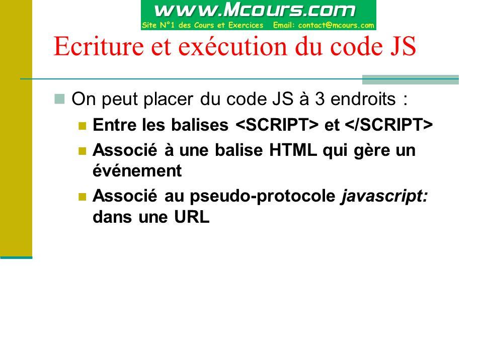 Ecriture et exécution du code JS On peut placer du code JS à 3 endroits : Entre les balises et Associé à une balise HTML qui gère un événement Associé