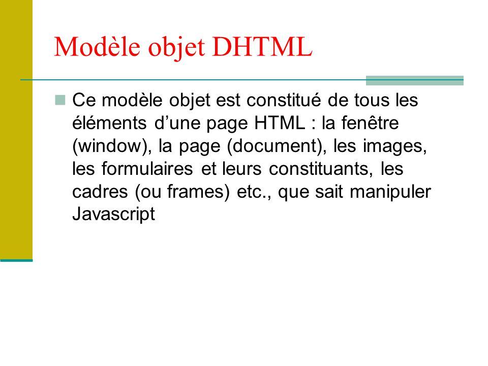 Modèle objet DHTML Ce modèle objet est constitué de tous les éléments d'une page HTML : la fenêtre (window), la page (document), les images, les formu