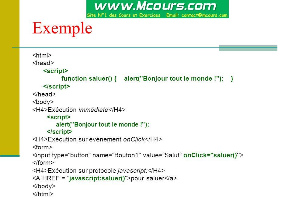 Exemple function saluer() { alert( Bonjour tout le monde ! ); } Exécution immédiate alert( Bonjour tout le monde ! ); Exécution sur événement onClick Exécution sur protocole javascript: pour saluer