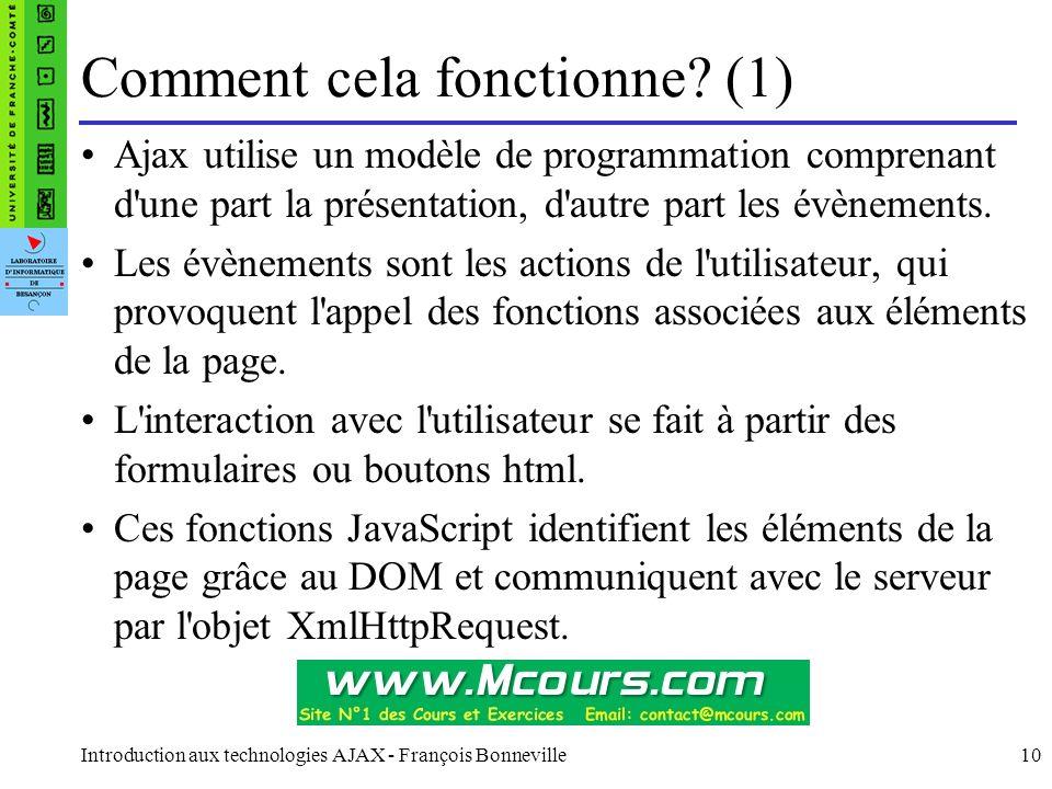 Introduction aux technologies AJAX - François Bonneville10 Ajax utilise un modèle de programmation comprenant d'une part la présentation, d'autre part