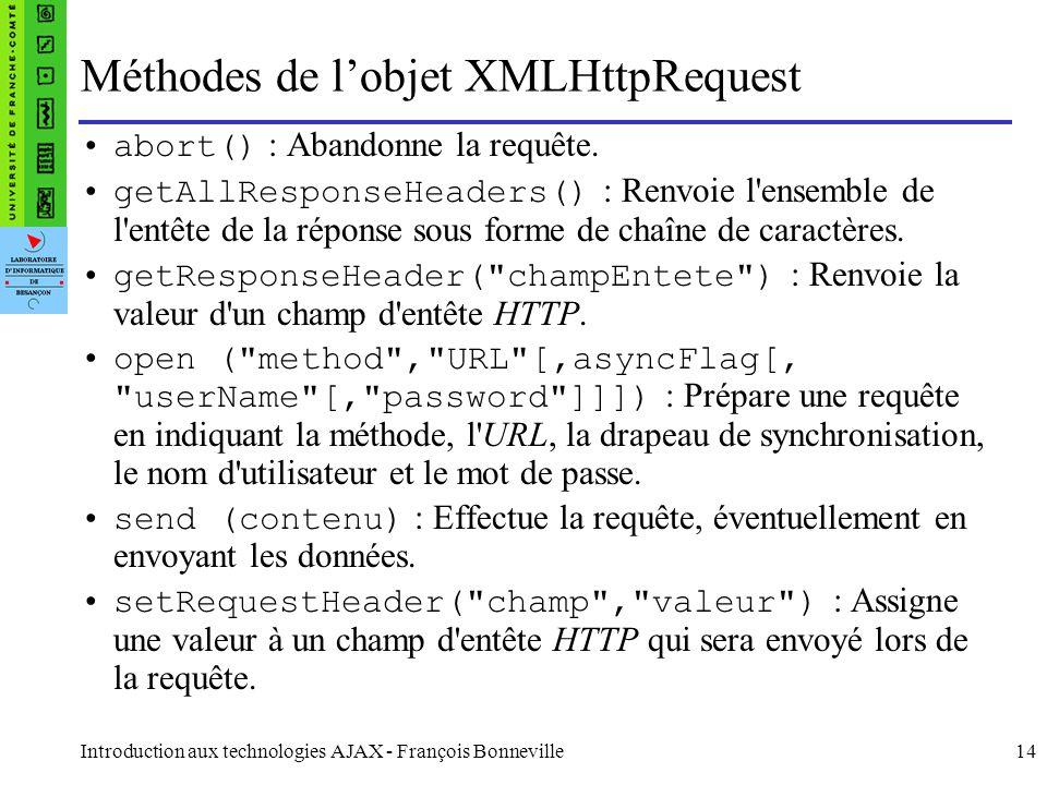 Introduction aux technologies AJAX - François Bonneville14 Méthodes de l'objet XMLHttpRequest abort() : Abandonne la requête. getAllResponseHeaders()