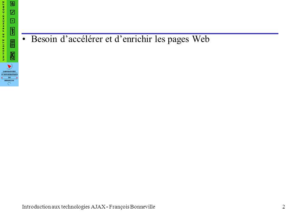 Introduction aux technologies AJAX - François Bonneville3 Définition AJAX = Asynchronous JavaScript And XML Méthode informatique de développement d applications Web.