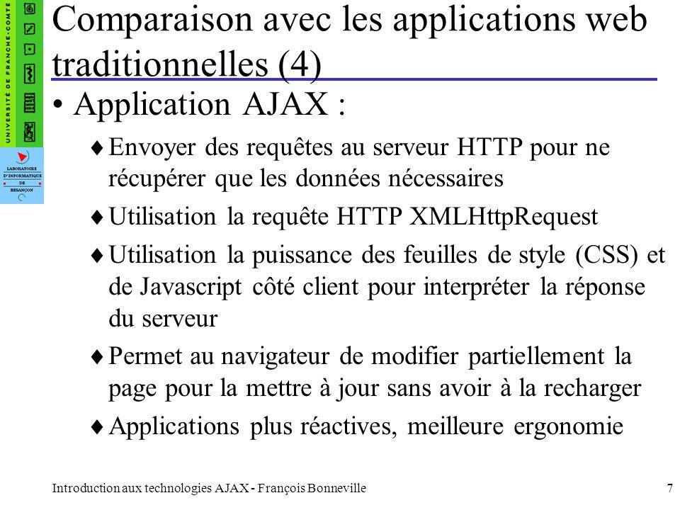 Introduction aux technologies AJAX - François Bonneville18 la partie XML de l AJAX Le serveur renvoie des données XML La méthode responseXML de l'objet XMLHttpRequest renvoye un document XML à traiter La méthode javascript getElementsByTagName(nom) d'un objet (en l'occurrence XML) permet de récupérer les éléments par rapport à leur nom dans un élément.