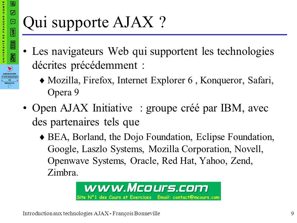 Introduction aux technologies AJAX - François Bonneville9 Qui supporte AJAX ? Les navigateurs Web qui supportent les technologies décrites précédemmen