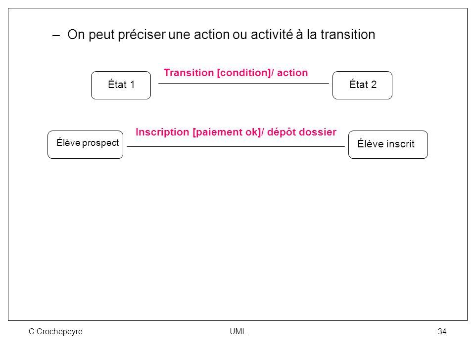 C Crochepeyre UML 34 –On peut préciser une action ou activité à la transition État 1État 2 Transition [condition]/ action Élève prospect Élève inscrit