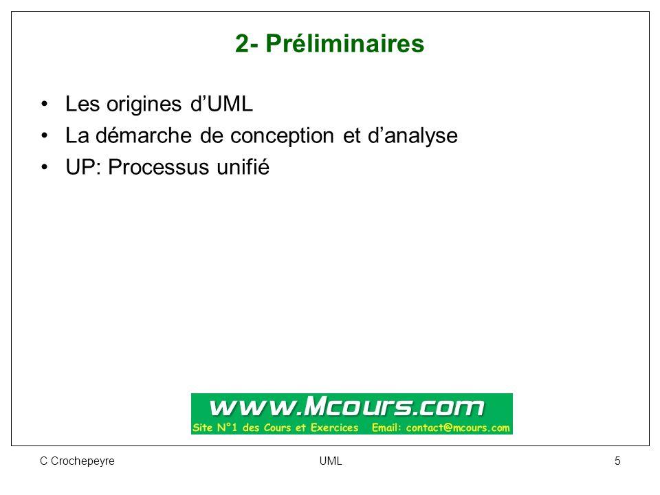 C Crochepeyre UML 5 2- Préliminaires Les origines d'UML La démarche de conception et d'analyse UP: Processus unifié