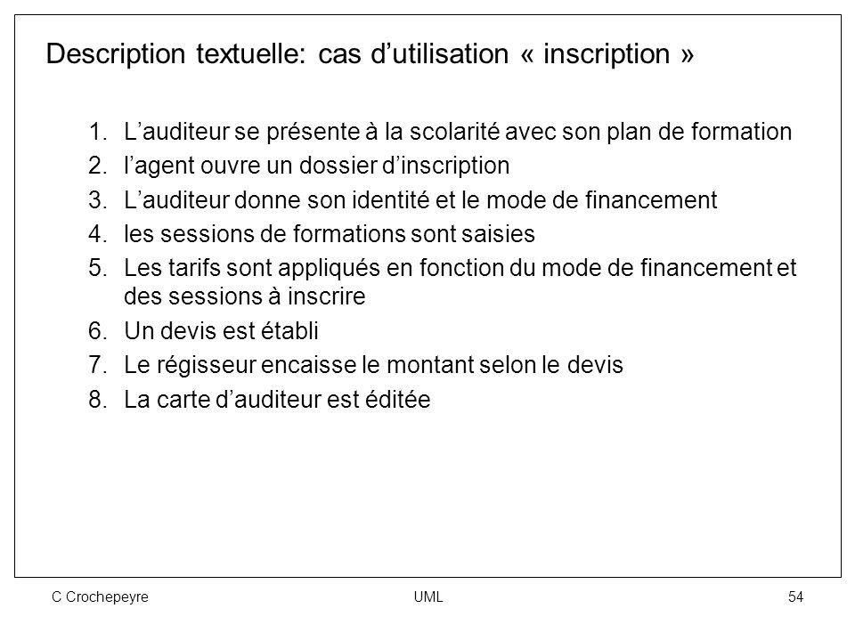 C Crochepeyre UML 54 Description textuelle: cas d'utilisation « inscription » 1.L'auditeur se présente à la scolarité avec son plan de formation 2.l'a