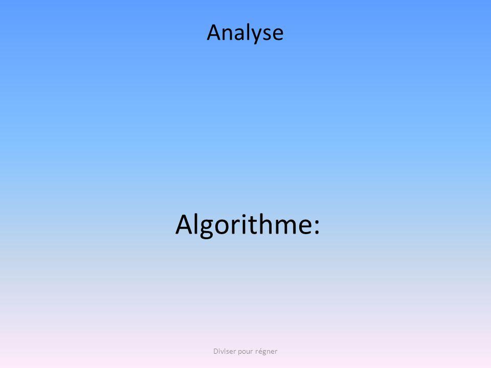 Analyse Algorithme: Diviser pour régner