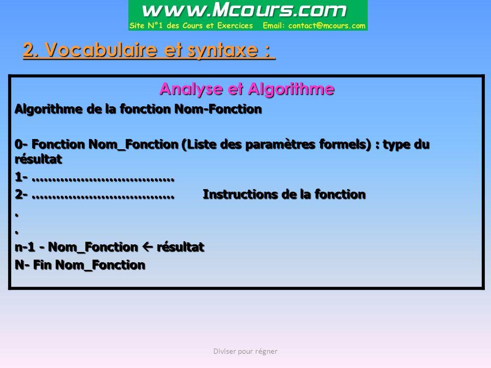 2. Vocabulaire et syntaxe : Analyse et Algorithme Algorithme de la fonction Nom-Fonction 0- Fonction Nom_Fonction (Liste des paramètres formels) : typ