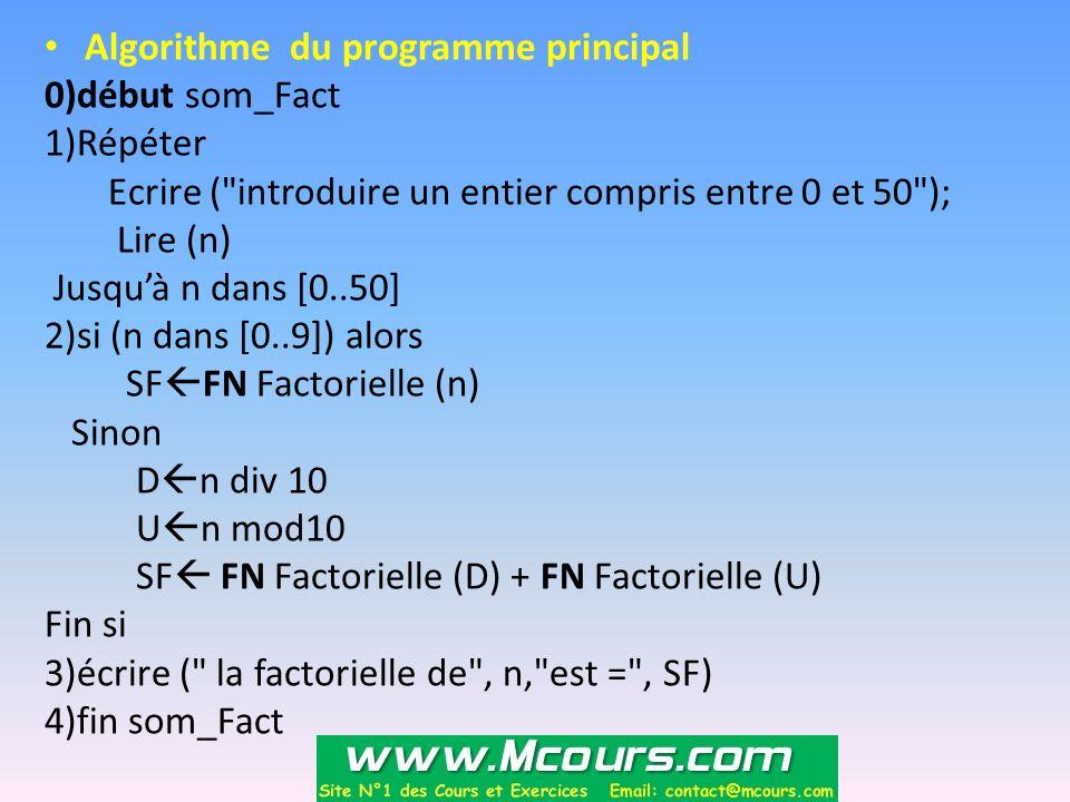 Algorithme du programme principal 0)début som_Fact 1)Répéter Ecrire (