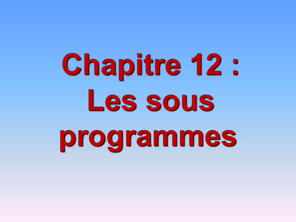 Chapitre 12 : Les sous programmes Les sous programmes