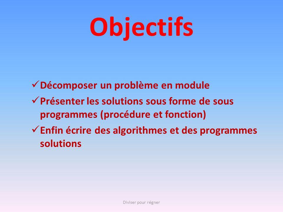 Objectifs Décomposer un problème en module Présenter les solutions sous forme de sous programmes (procédure et fonction) Enfin écrire des algorithmes