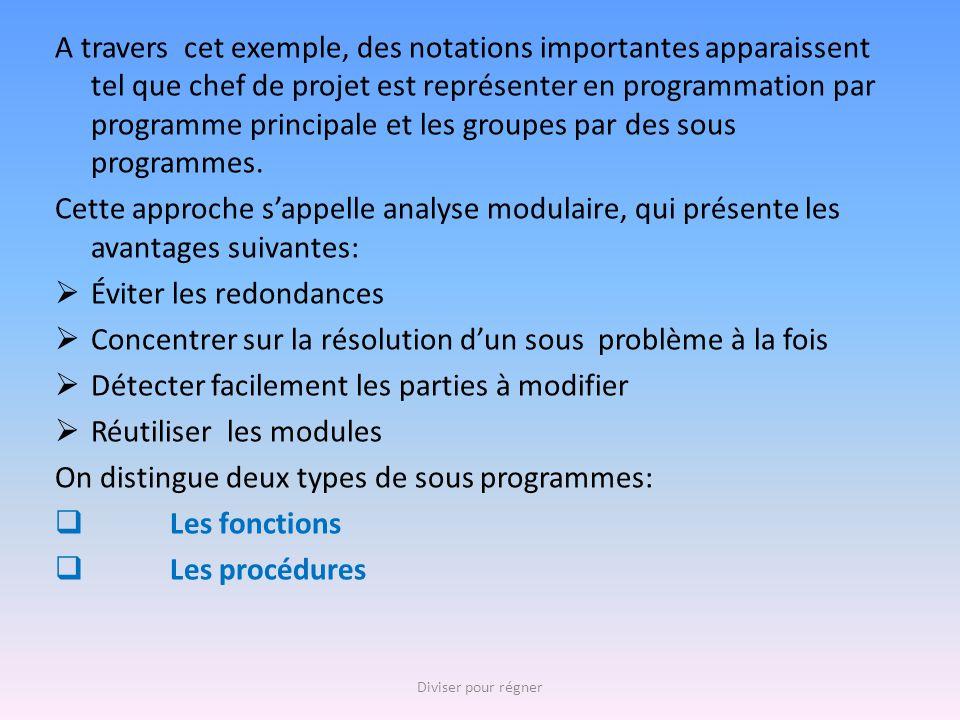 A travers cet exemple, des notations importantes apparaissent tel que chef de projet est représenter en programmation par programme principale et les