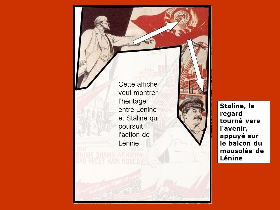 Cette affiche veut montrer l'héritage entre Lénine et Staline qui poursuit l'action de Lénine Staline, le regard tourné vers l'avenir, appuyé sur le b