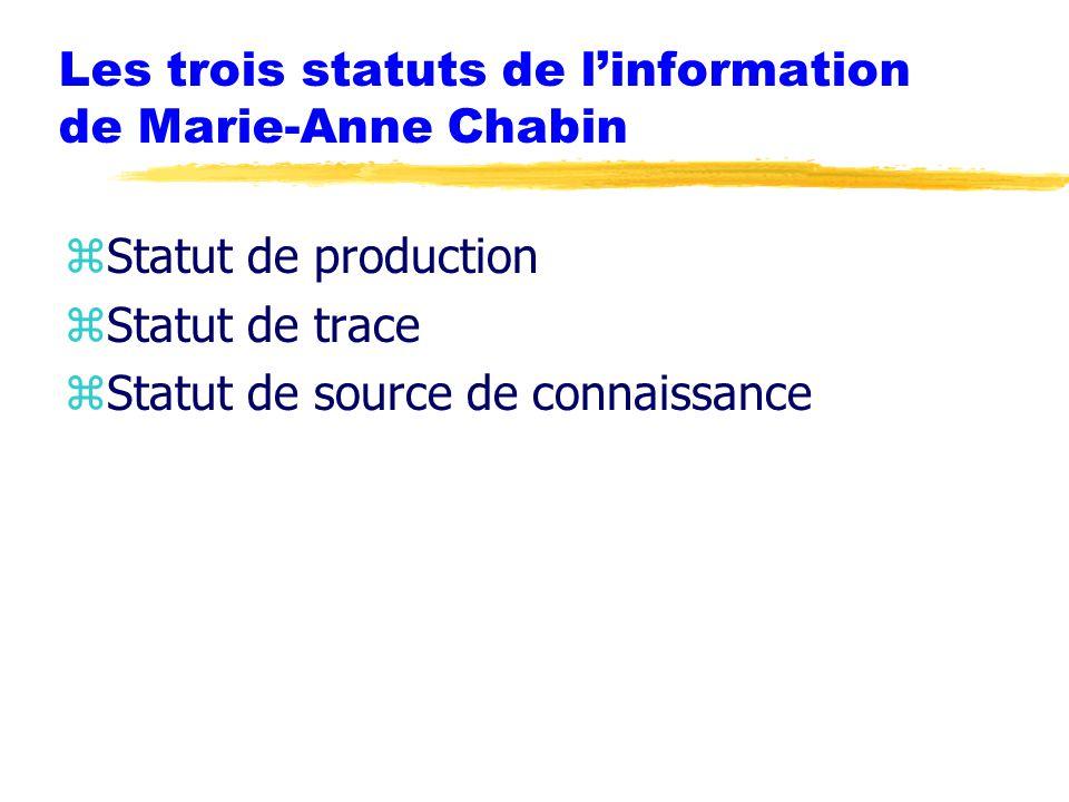 Les trois statuts de l'information de Marie-Anne Chabin zStatut de production zStatut de trace zStatut de source de connaissance