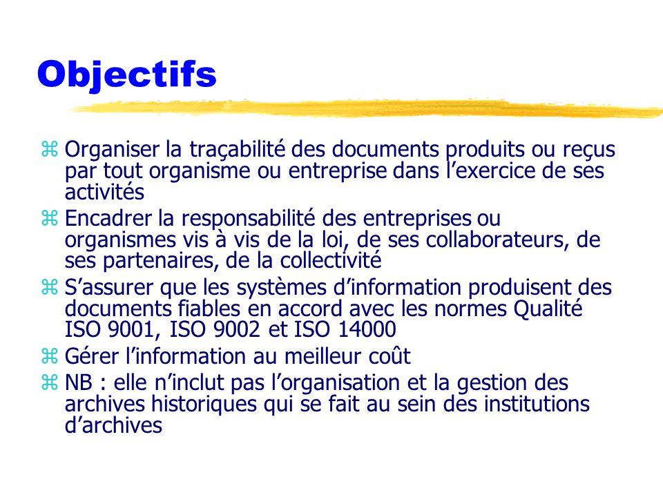 Objectifs zOrganiser la traçabilité des documents produits ou reçus par tout organisme ou entreprise dans l'exercice de ses activités zEncadrer la responsabilité des entreprises ou organismes vis à vis de la loi, de ses collaborateurs, de ses partenaires, de la collectivité zS'assurer que les systèmes d'information produisent des documents fiables en accord avec les normes Qualité ISO 9001, ISO 9002 et ISO 14000 zGérer l'information au meilleur coût zNB : elle n'inclut pas l'organisation et la gestion des archives historiques qui se fait au sein des institutions d'archives