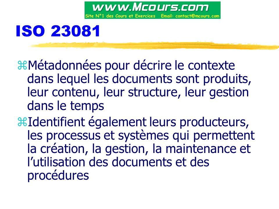 ISO 23081 zMétadonnées pour décrire le contexte dans lequel les documents sont produits, leur contenu, leur structure, leur gestion dans le temps zIdentifient également leurs producteurs, les processus et systèmes qui permettent la création, la gestion, la maintenance et l'utilisation des documents et des procédures
