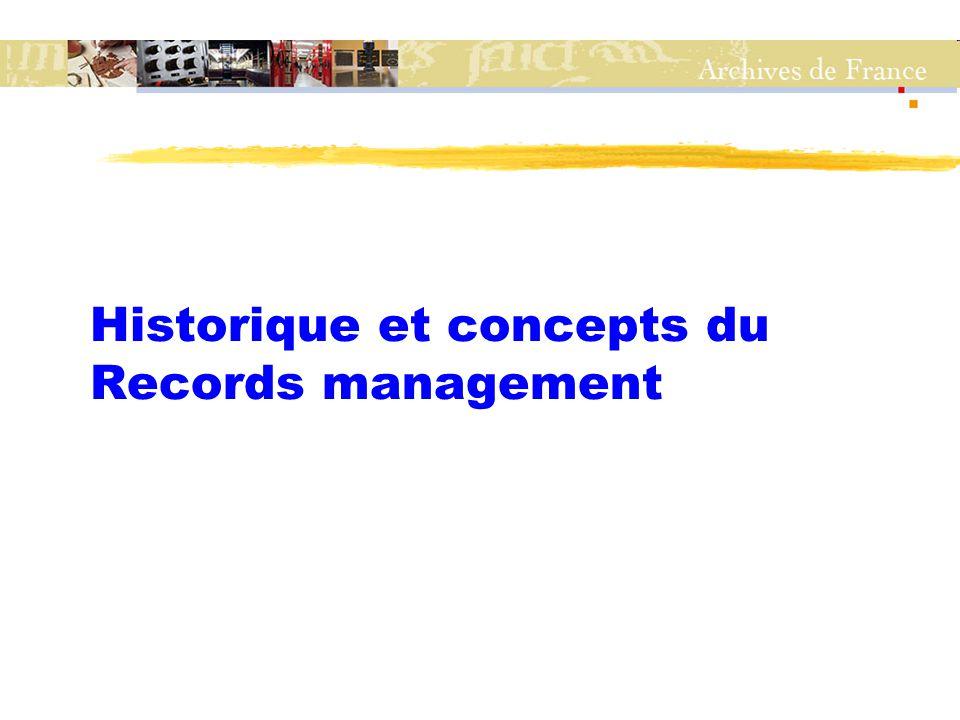 Historique du Records management zNaissance à la fin des 1940's aux États-Unis zThéorie de l'archivage au service des producteurs : Schellenberg aux États-Unis, Pérotin en France zMilieu des années 1990 : la norme RM australienne connaît un grand succès et devient la norme ISO 15489 z2002 : l'AFNOR diffuse la norme en France