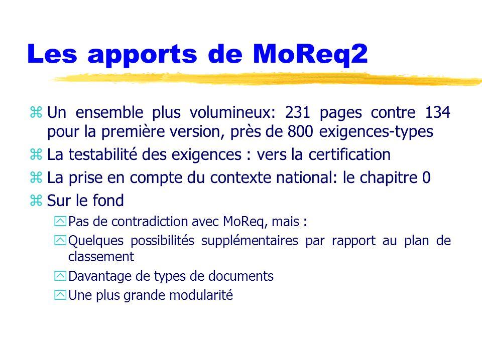 Les apports de MoReq2 zUn ensemble plus volumineux: 231 pages contre 134 pour la première version, près de 800 exigences-types zLa testabilité des exigences : vers la certification zLa prise en compte du contexte national: le chapitre 0 zSur le fond yPas de contradiction avec MoReq, mais : yQuelques possibilités supplémentaires par rapport au plan de classement yDavantage de types de documents yUne plus grande modularité