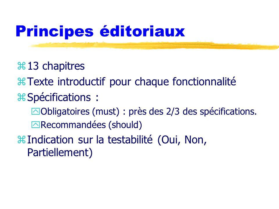 Principes éditoriaux z13 chapitres zTexte introductif pour chaque fonctionnalité zSpécifications : yObligatoires (must) : près des 2/3 des spécifications.