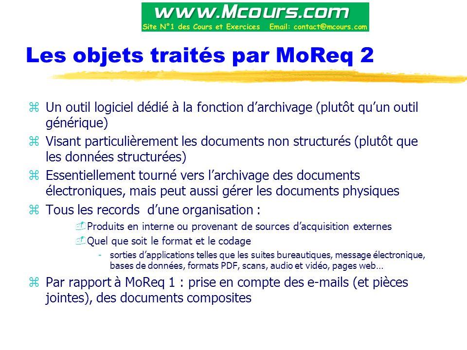 Les objets traités par MoReq 2 zUn outil logiciel dédié à la fonction d'archivage (plutôt qu'un outil générique) zVisant particulièrement les documents non structurés (plutôt que les données structurées) zEssentiellement tourné vers l'archivage des documents électroniques, mais peut aussi gérer les documents physiques zTous les records d'une organisation : -Produits en interne ou provenant de sources d'acquisition externes -Quel que soit le format et le codage -sorties d'applications telles que les suites bureautiques, message électronique, bases de données, formats PDF, scans, audio et vidéo, pages web… zPar rapport à MoReq 1 : prise en compte des e-mails (et pièces jointes), des documents composites