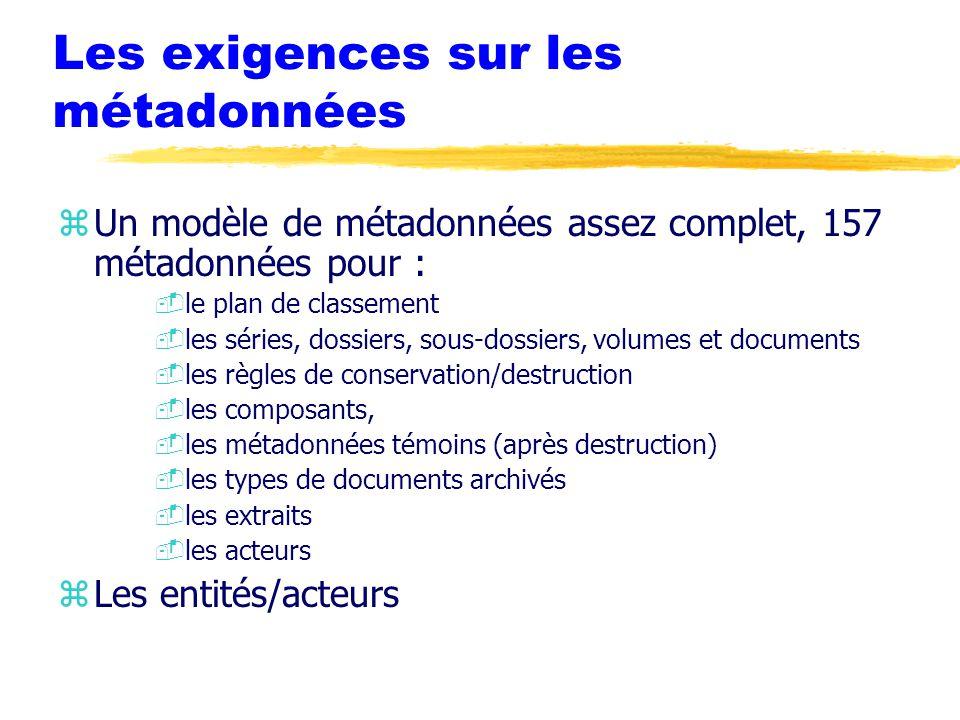 Les exigences sur les métadonnées zUn modèle de métadonnées assez complet, 157 métadonnées pour : -le plan de classement -les séries, dossiers, sous-dossiers, volumes et documents -les règles de conservation/destruction -les composants, -les métadonnées témoins (après destruction) -les types de documents archivés -les extraits -les acteurs zLes entités/acteurs