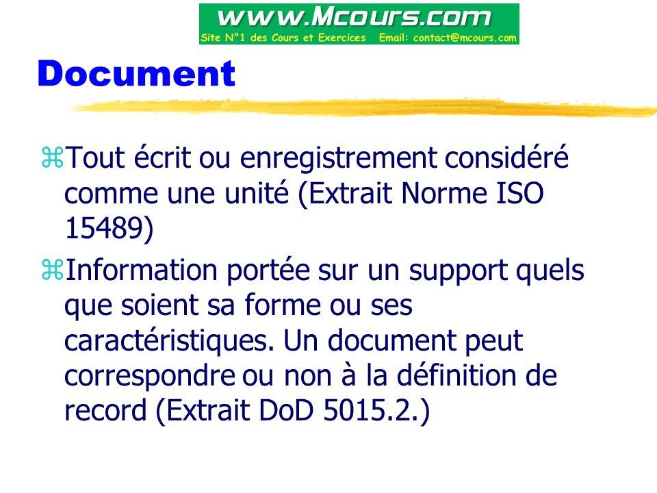 Document zTout écrit ou enregistrement considéré comme une unité (Extrait Norme ISO 15489) zInformation portée sur un support quels que soient sa forme ou ses caractéristiques.