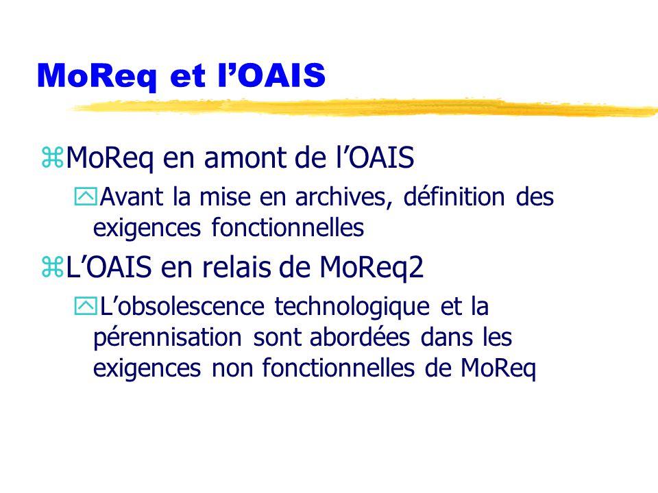 MoReq et l'OAIS zMoReq en amont de l'OAIS yAvant la mise en archives, définition des exigences fonctionnelles zL'OAIS en relais de MoReq2 yL'obsolescence technologique et la pérennisation sont abordées dans les exigences non fonctionnelles de MoReq